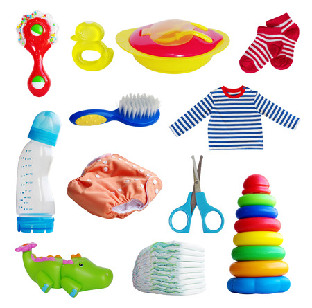 set of baby toys and accessories Stock Photo