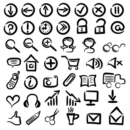 drow: set of free hand web icons on white background