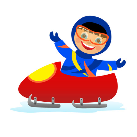 bobsleigh: Childrens fun in winter on white background  Child on bobsleigh