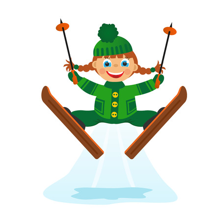 Childrens fun in winter on white background  Girl on ski jumping Stock Photo