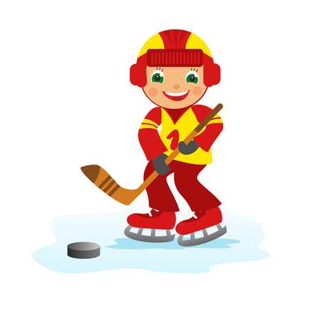 ice hockey puck: Childrens fun in winter on white background  Boy hockey player
