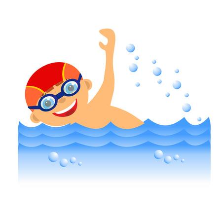 Childrens sport in summertime  Boy swimmer