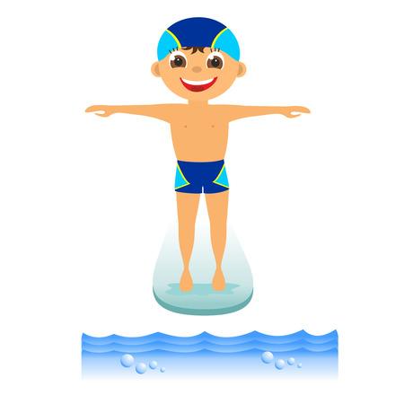 springboard: Childrens deporte acu�tico en el verano del muchacho del trampol�n Foto de archivo