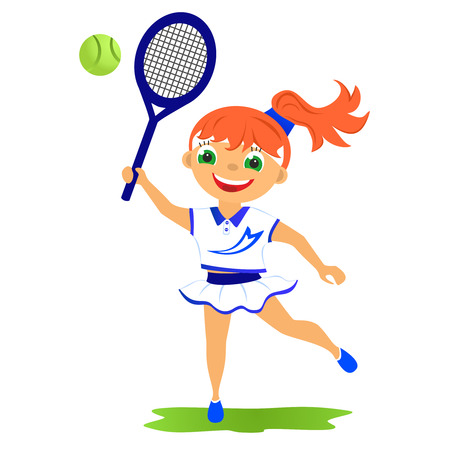 Childrens sport in summertime  Girl tennis player photo