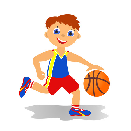 Childrens sport in summertime  Boy basketballer photo