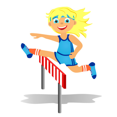 Childrens sport in summertime  Girl overjumps hurdle photo
