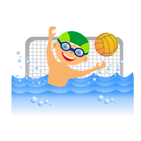 Childrens sport in summertime  Boy water polo player photo