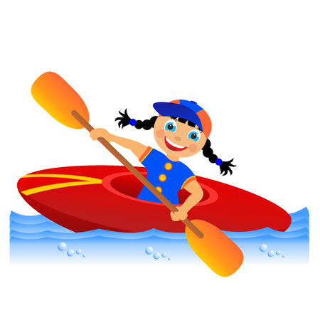 Childrens sport in summertime  Canoing photo