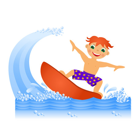 Childrens sport in summertime  Boy on surfboard photo