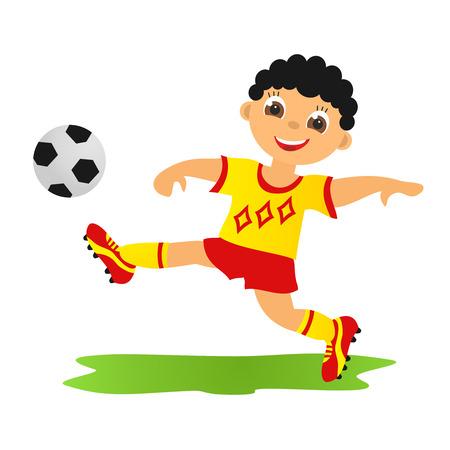 futbol infantil: Childrens deporte en verano Ni�o jugando al f�tbol