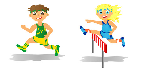 steeplechase: Childrens sport in summertime  Boy and girl running Stock Photo