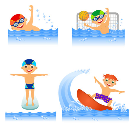 Childrens water sport in summertime photo