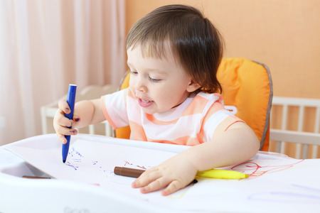 grease paint: lovely 18 months baby painting with felt pens
