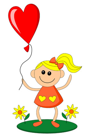 blonde teenage girl: Happy lovely little girl holds balloon in heart shape
