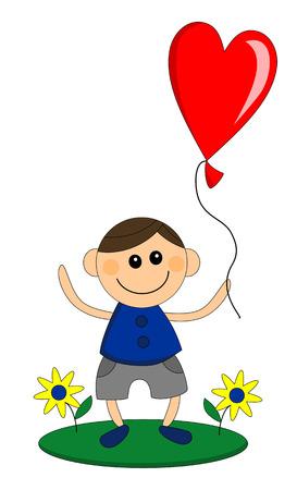 Happy little boy holds balloon in heart shape