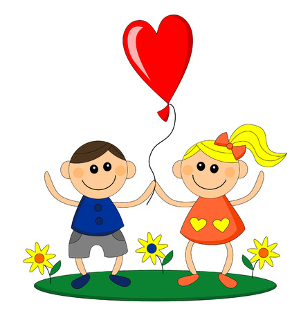 Happy little girl and boy hold balloon in heart shape