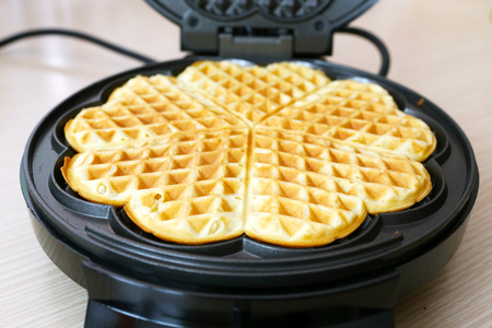 Preparing homemade waffles in the kitchen