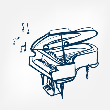 piano sketch vector illustration isolated design element isolated  イラスト・ベクター素材