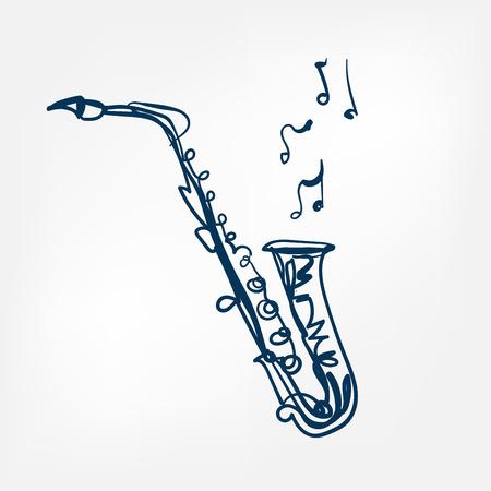 Saxophon-Skizze-Vektor-Illustration isoliertes Gestaltungselement isoliert Vektorgrafik