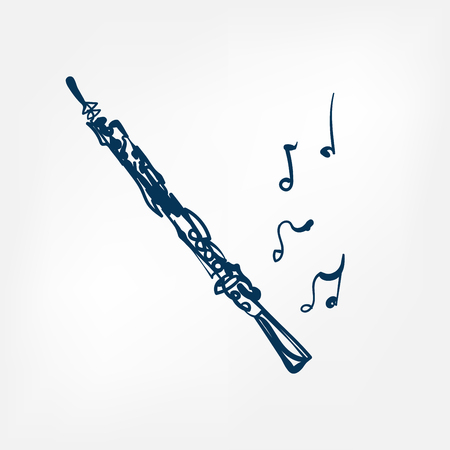 oboe sketch vector illustration isolated design element isolated
