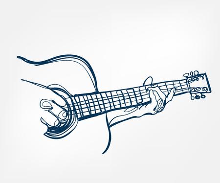 conception de vecteur de ligne de croquis de guitare mains