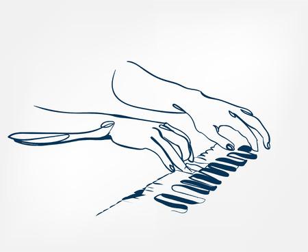 hands piano keys synthesizer sketch line vector design outline Illustration
