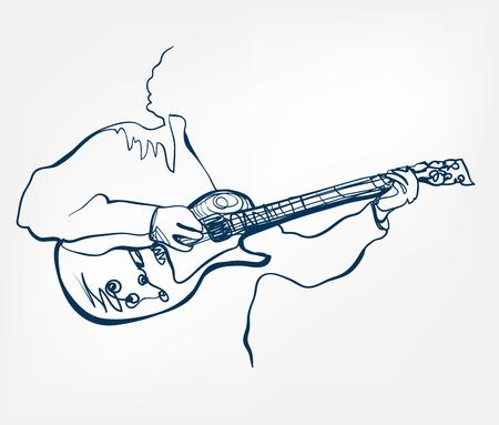 hands guitar sketch line vector design isolated Illustration