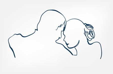 dance pair sihouette sketch line vector design