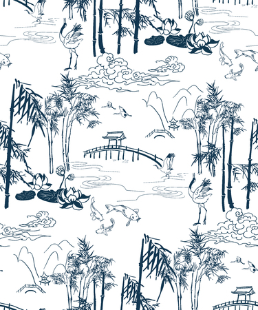 bamboo vector japanese pattern brige mountains pattern