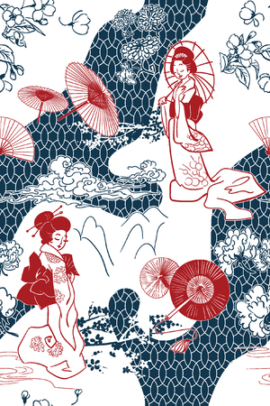 japanese traditional vector illustration oruental backdrop pattern seamless