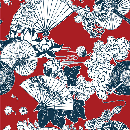 japanese traditional vector illustration fun pattern peony