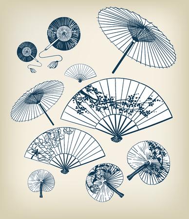 illustration vectorielle traditionnelle japonaise définie des parapluies et des éléments de conception funs oriental Vecteurs