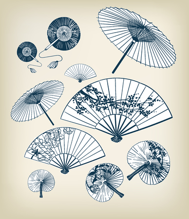 japanese traditional vector illustration set umbrellas and funs design elements oriental Vettoriali