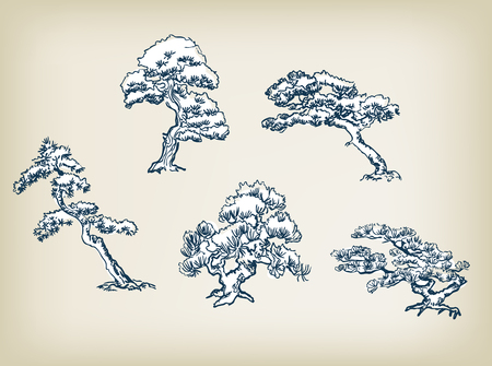japanese pine vector illustration set design elements oriental  イラスト・ベクター素材