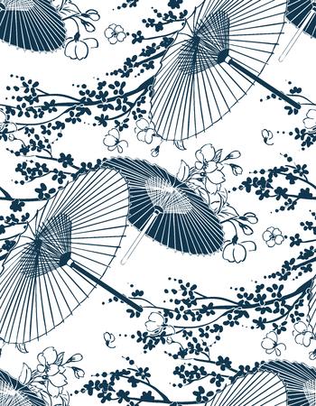 Illustration vectorielle traditionnelle japonaise motif parapluie sakura sans soudure