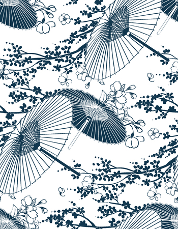 japanese traditional vector illustration sakura umbrella pattern seamless Çizim