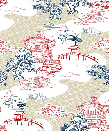 japanese temple view vector pattern pine