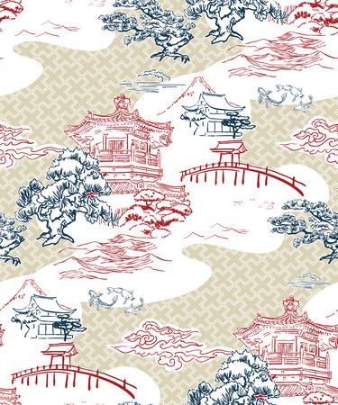 templo japonés vista vector patrón pino