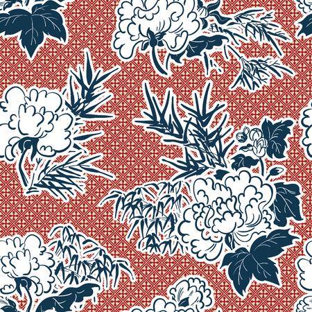 patrón de peonía de ilustración vectorial tradicional japonesa