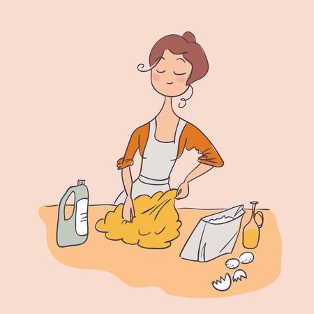teig kochen hausfrau vektorillustration doodle