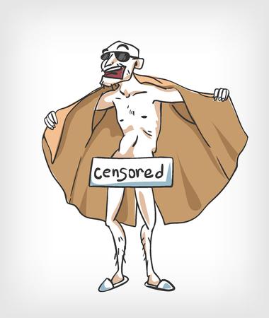illustrazione vettoriale esibizionista uomo censurato cappotto Vettoriali