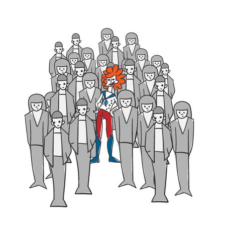 extravagant concept vector illustration woman gray crowd