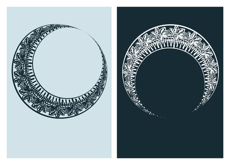art nouveau vector frame vector pair line Illustration