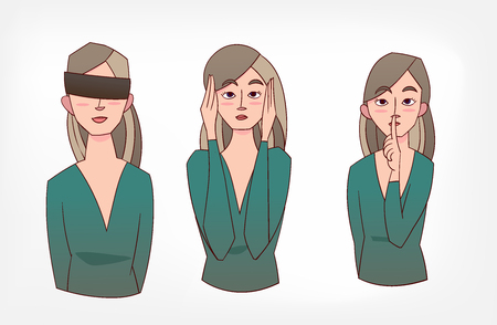 not see speak hear vector illustration girl