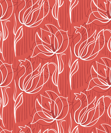 red tulips seamless pattern vector design primitive scandinavian