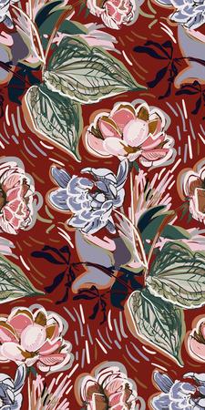 colorful vector flower art painting decoration wallpaper seamless pattern garden peony Vector Illustration