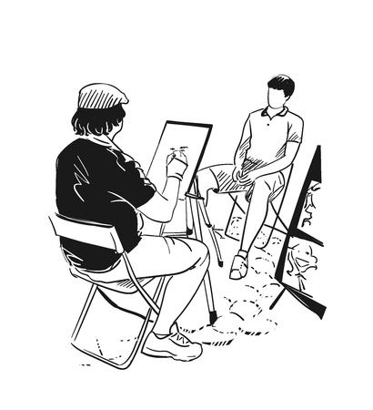 stree artist vector illustration portrait Illustration
