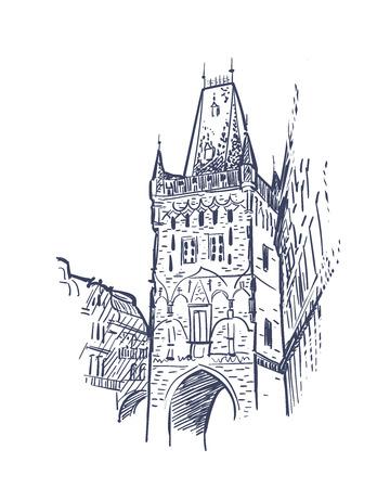 sketch vector illustration european view prague