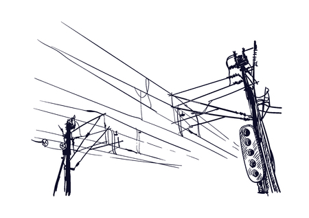 sketch vector illustration european view wires traffic 向量圖像