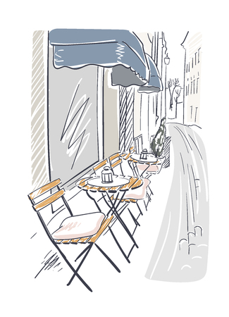 street cafe vector illustration stockholm european